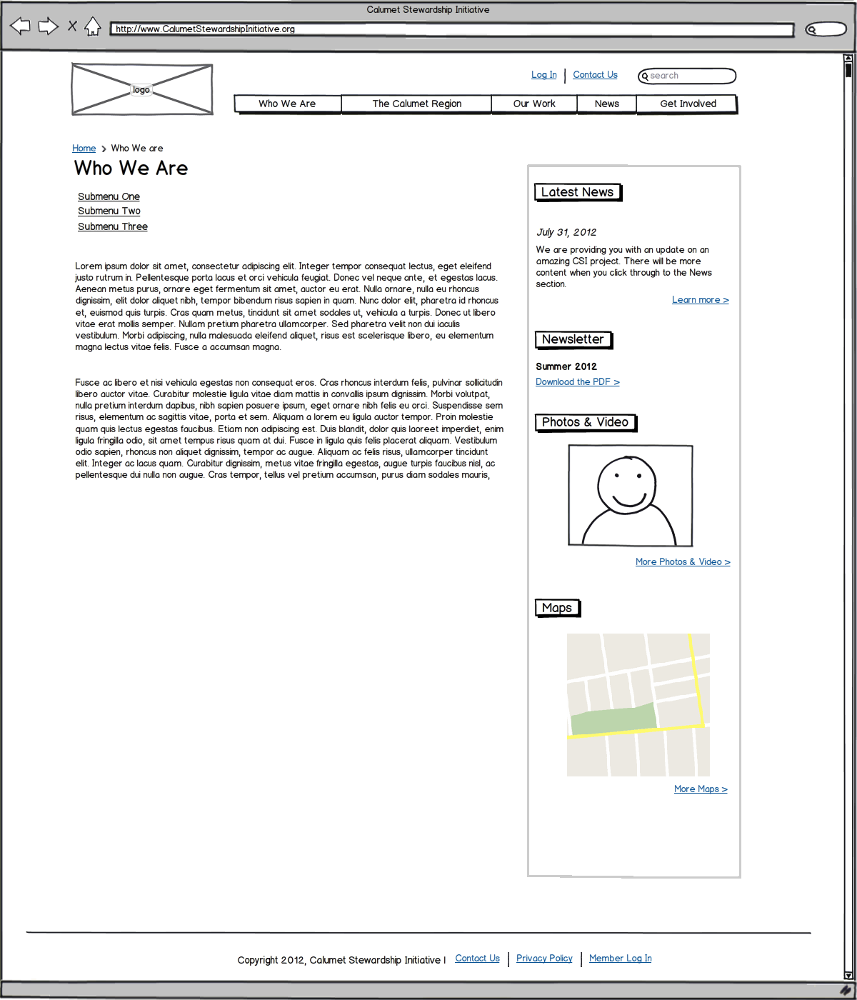Sample Nonprofit Website Wireframe
