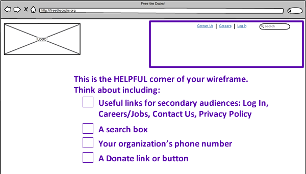 Nonprofit Website Wireframes - Helpful